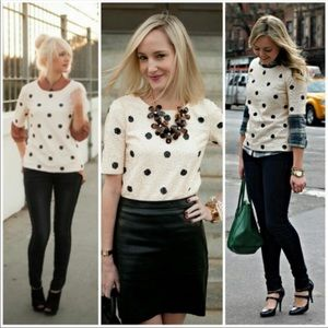 J. Crew Polka Dot Sequin Top Size XS